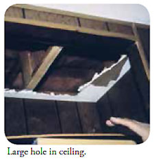 Large hole in ceiling