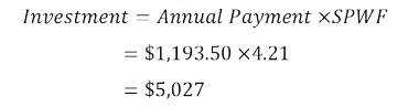 Investment = Annual Payment X SPWF